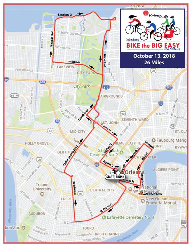 Bike the Big Easy 2018 Updated Map